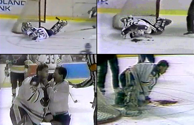 One of the NHL's most unforgettably horrible accidents occurred during a March 22, 1989 game in Buffalo when the Sabres' goaltender was slashed in the throat by the skate blade of a St. Louis Blues forward who had been knocked off balance and into the crease. Malarchuk, whose carotid artery was severed, nearly bled to death on the ice while fans in the stands fainted at the sight. His life was saved by team trainer Jim Pizzutelli, a former Army medic who had served in Vietnam. Pizzutelli pinched Malarchuk's wound closed and helped him to the dressing room. The stricken goalie needed 300 stitches to close the wound, but amazingly missed less than a week before he returned to a rousing ovation by Buffalo's fans. He even joked about what had happened, but was emotionally scarred by the incident and later suffered from post-traumatic stress syndrome.