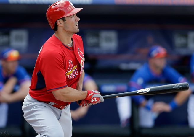 Acquired from the Angels in the offseason, Randal Grichuk offers St. Louis outfield depth.