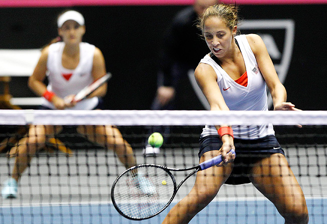 Madison Keys (right) and Lauren Davis both made their Fed Cup debut against Italy in February.