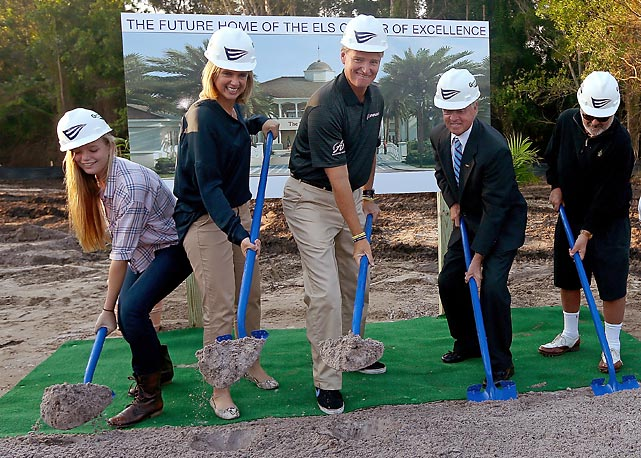 The family that digs divots together, stays together, as the golfing icon, his daughter Samantha and blushing bride Liezl can attest while breaking ground for the Els Center for Autism at the PGA National Golf Club in Palm Beach.