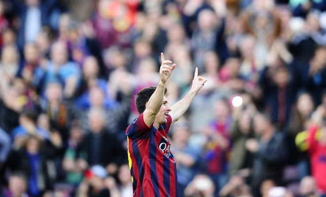 Lionel Messi set the all-time Barcelona record for goals with his second of a hat trick on Sunday.