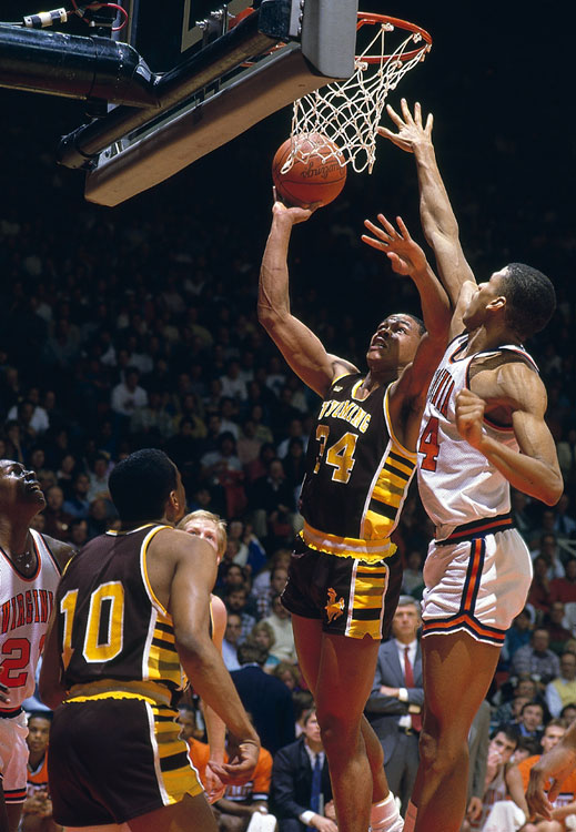 Fennis Dembo dropped 41 on Reggie Miller and fourth-seeded UCLA in the second round, stunning the Bruins 78-68. This win came just days after Dembo led the Cowboys to an upset over No. 5 seed Virginia. Wyoming's run would end in the Sweet 16, but Dembo's legend, for both his name and his game, lives on in Laramie.