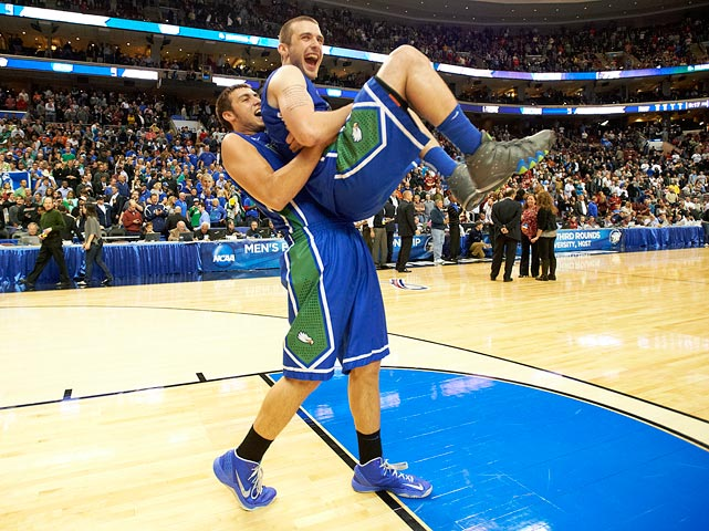 It's not just that the Eagles beat No. 2 seed Georgetown and No. 7 San Diego State. It's how they did it. Sophomore point guard Brett Comer (right) dished 31 assists in FGCU's three-game run, many of which ended with monstrous crowd-pleasing slams by Chase Fieler (left). The magical run would end against Florida in the regional semis, but not before Dunk City had become a national name.