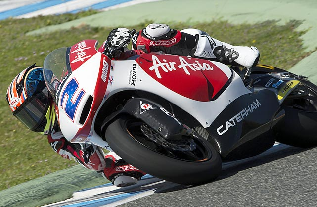 American motorcyclist Josh Herrin rounds the bend during the motor and Moto3 tests in Jerez de la Frontera, Spain.
