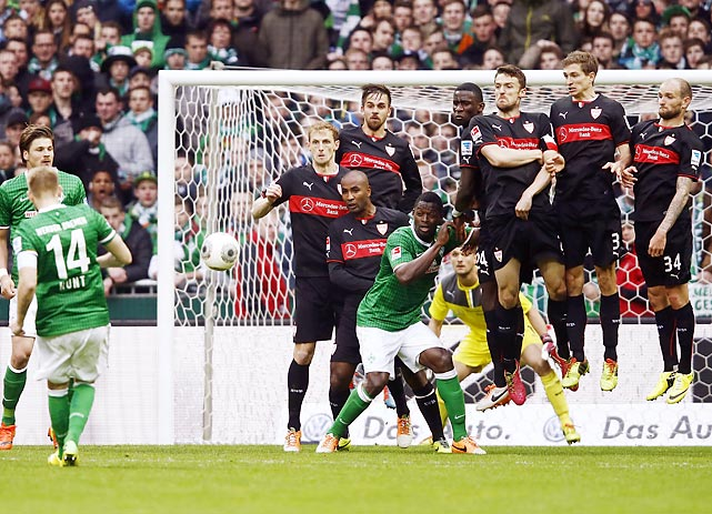 German footballer Aaron Hunt scores for Werder Bremen during a Saturday Bundesliga match against VfB Stuttgart. The match ended in a draw.