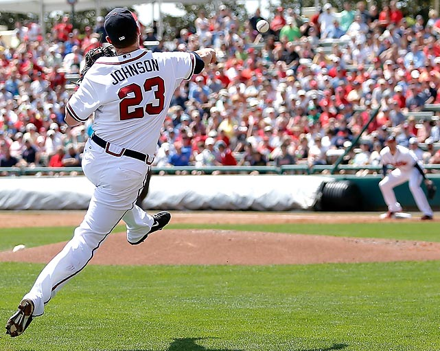 Atlanta Braves third baseman Chris Johnson throws to first during a spring training game against the St. Louis Cardinals in Lake Buena Vista, Fla. Johnson hit .321 last season with 12 home runs and 68 RBIs.