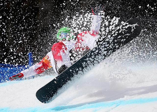 Canadian snowboarder Ian Lockey competes during the Men's Paralympic Snowboard Cross Standing on Friday at the Sochi 2014 Paralympic Winter Games. Lockey finished in 21st place in the competition, while Americans captured all three medals in the event.