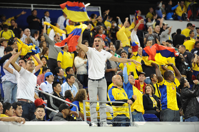 Colombia fans go wild for Los Cafeteros at a 2010 friendly against Ecuador at Red Bull Arena outside of New York City, where a large population of Colombia natives resides.