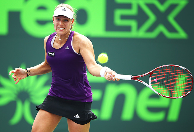 Angelique Kerber survived a close match against Peng Shuai, winning in a third-set tiebreaker 6-3, 1-6, 7-6 (5).