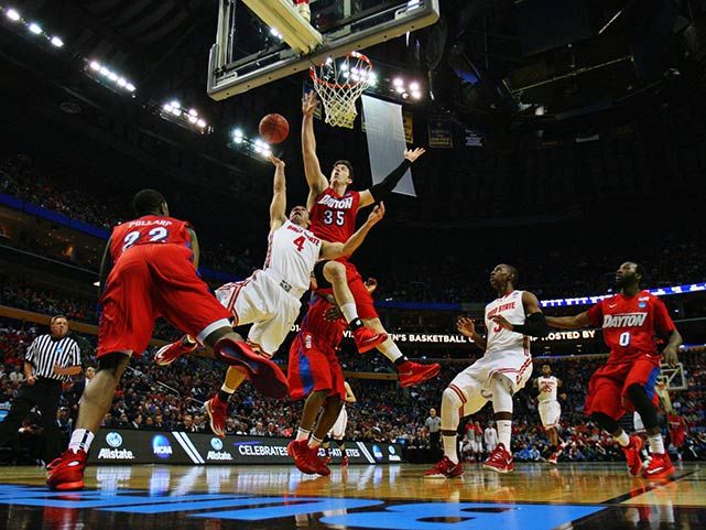 Ohio State's Aaron Craft, pictured here against Matt Kavanaugh (35), Shannon Scott (3) and Khari Price, scored 16 points for the Buckeyes. His vallant attempt at a game-winning shot at the buzzer was just off the mark.