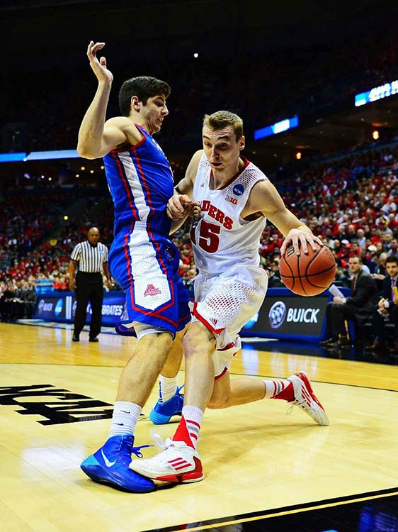 Sam Dekker and Wisconsin enjoyed the most lopsided victory of the day, trouncing American by 40 points.