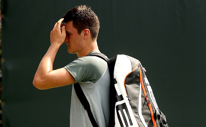 Bernard Tomic won only one game against Jarkko Nieminen in the first round of the Sony Open.