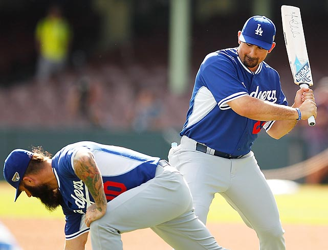 Before opening the 2014 MLB season in grand style, a pair of Dodgers warmed up with a spirited game of paddleball at Sydney Cricket Ground in Australia, where their team had gone to take on the Arizona D-backs for the amusement and edification of the local population.