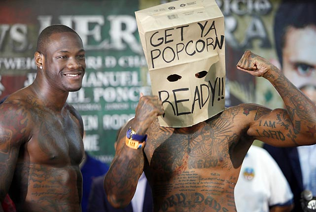 The WBC heavyweight champ enjoyed a pre-fight giggle before taking on a sadly deluded challenger who vowed to prove that he could, indeed, punch his way out of a paper bag. Alas, Wilder knocked him out in a scant 94 seconds during their big bout in Bayamon, Puerto Rico.