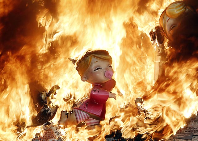 There's always a hot time to be had in Valencia, Spain, when the good folks gather for a noisy week of fireworks, processions and conflagrations in honor of Saint Joseph, whose basketball team went down in flames against Connecticut in the NCAA Tournament.