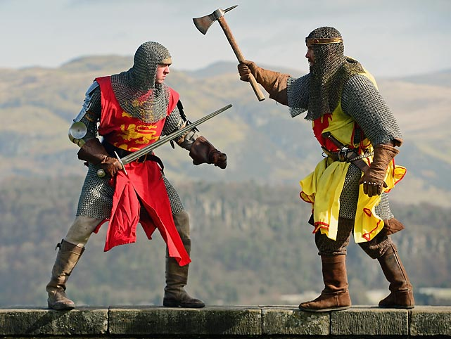 Now <italics>this</italics> is martial arts! Never mind that pansy-ass boxing and MMA stuff. King Robert the Bruce and King Edward II really knew how to bring it, as you can see by this reenactment of their big bout in Stirling, Scotland upon its 700th anniversary. Bruce won in a two-round knockout.