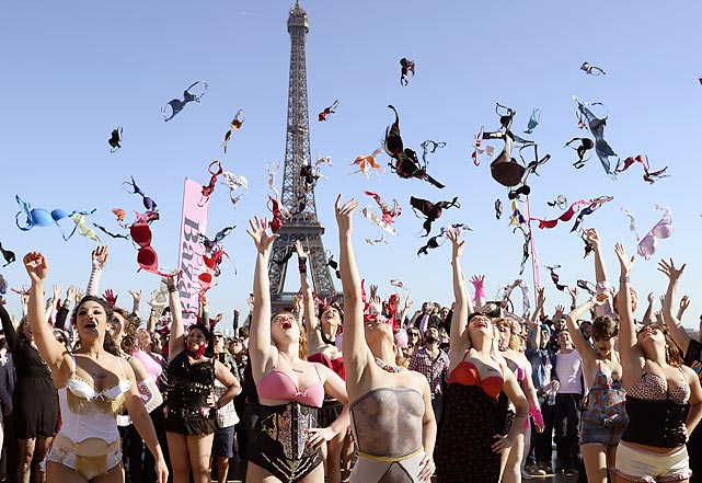 Because it's the Cup: A legion of ladies in Paris offered support for breast education and other mammarable activities.