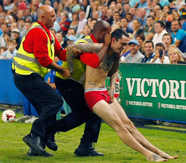 Unlike this gent at the round 23 match between Sydney FC and Brisbane Roar at Allianz Stadium, your exit from this gallery will be considerably more dignified.