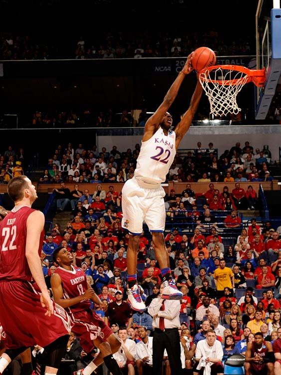 Andrew Wiggins had 19 points for the Jayhawks (25-9), who will play No. 10 seed Stanford on Sunday in the South Regional.
