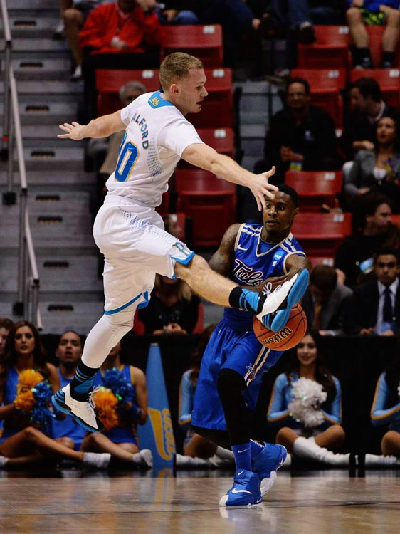 Bryce Alford defends against Rashad Ray during UCLA's resounding victory.