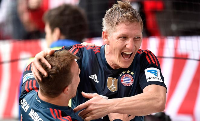 Bastian Schweinsteiger scored to put Bayern Munich within one victory of clinching the title.
