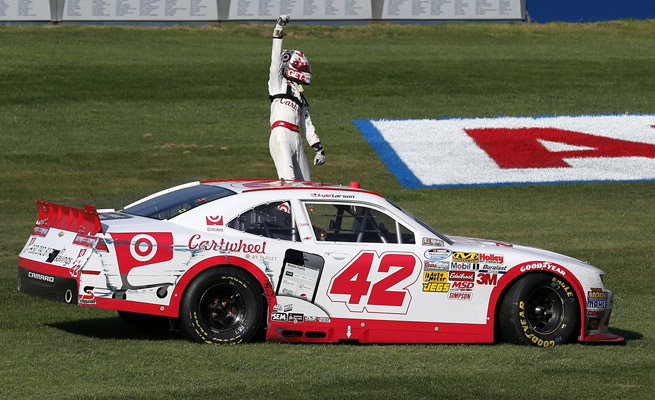 Kyle Larson became the first California native to win a Nationwide race at Fontana.