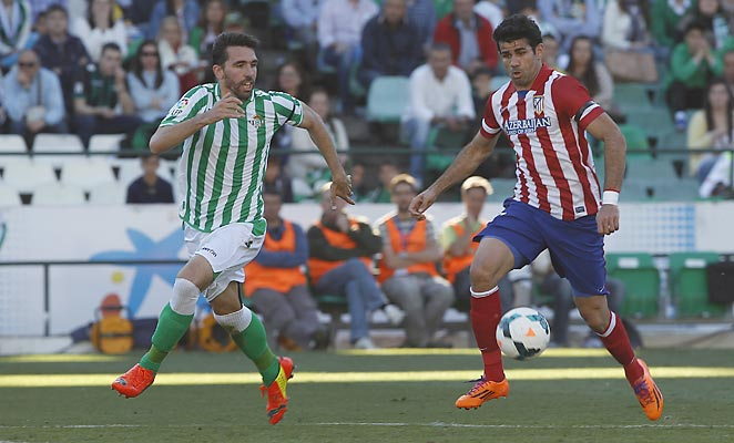 Diego Costa scored his 31st goal in all competitions for Atlético Madrid against Real Betis on Sunday.