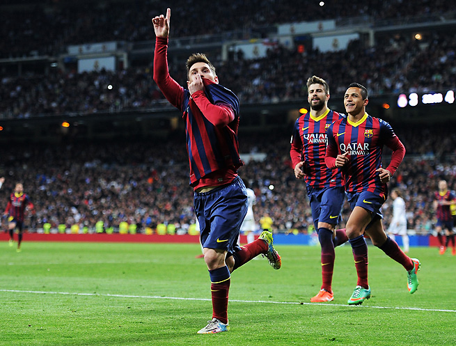 Lionel Messi had plenty to celebrate after scoring Barcelona's clinching fourth goal vs. Real Madrid.