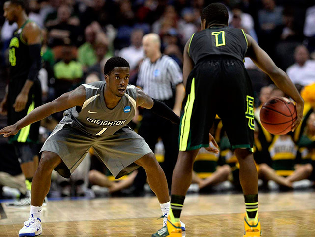 Austin Chatman of Creighton stares down Kenny Chery on a night when Baylor had five players score in double figures and shot 64 percent in one of the dominant performances of the NCAA tournament.