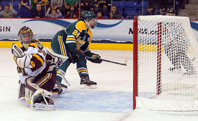 Shannon MacAulay's game-winner helped Clarkson become the first non-WCHA school to earn a national title.