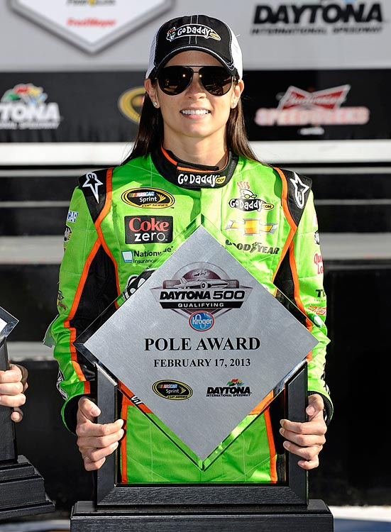 Patrick became the first woman to ever win a pole in a Sprint Cup race after qualifying for the Daytona 500. She would finish eighth in the race.
