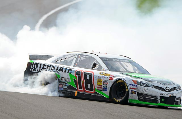 Kyle Busch celebrates with a burnout after winning the NASCAR Sprint Cup Series Auto Club 400 on March 23.
