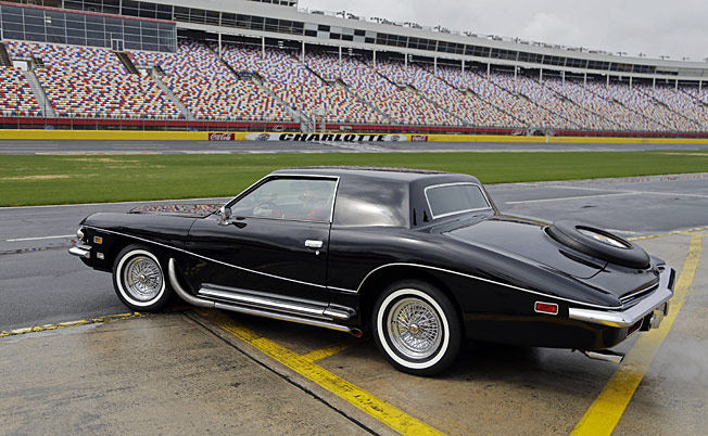 Elvis Presley's fully restored 1973 Stutz Blackhawk is on display at Charlotte Speedway.