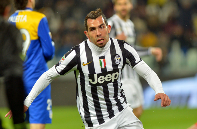 Juventus forward Carlos Tevez celebrates scoring one of his two goals against Parma in Serie A action on Wednesday.
