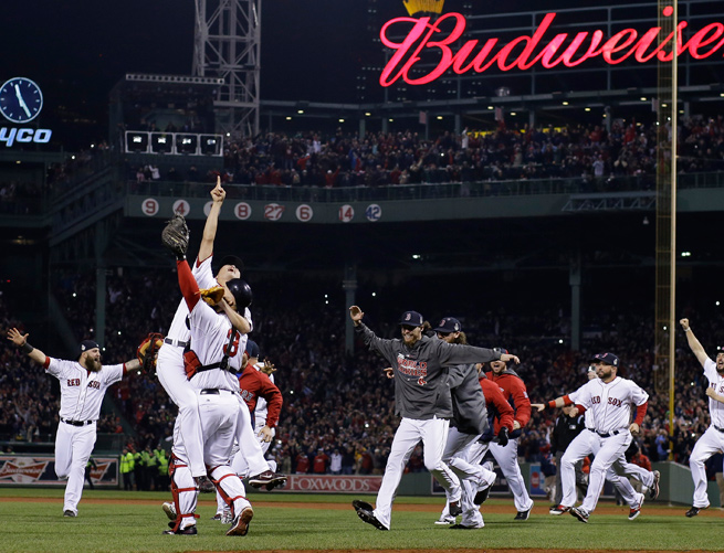 Boston won its third title in 10 years by defeating the Cardinals in six games in the World Series.