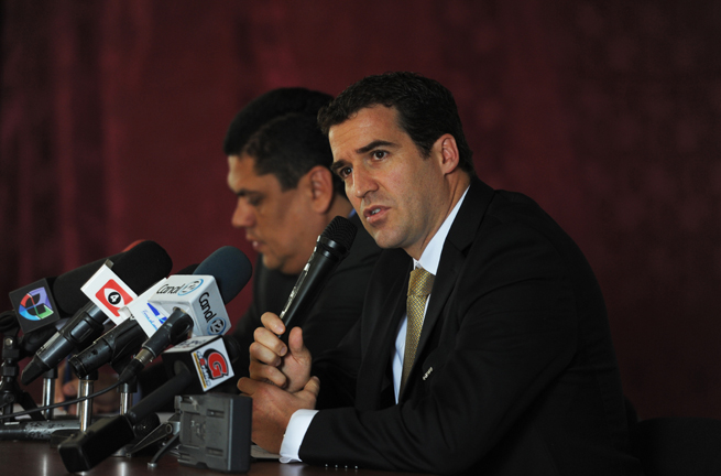 CONCACAF secretary general Enrique Sanz, right, is being treated for leukemia.