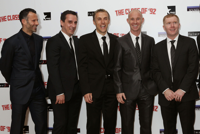 From left, Ryan Giggs, Gary Neville, Phil Neville, Nicky Butt and Paul Scholes have teamed to buy non-league club Salford FC.