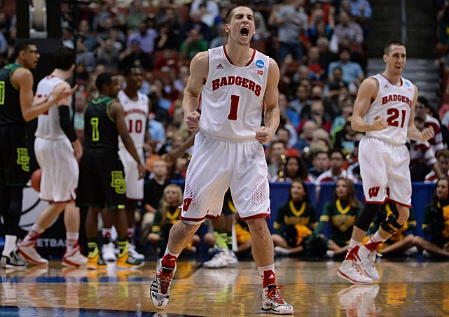Ben Brust had reason to celebrate after hitting three of five three-point attempts and finishing with 14 points.