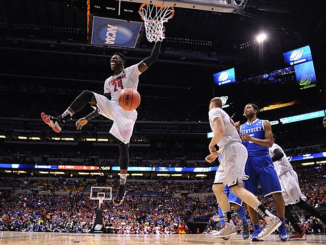 Montrezl Harrell enjoys this dunk but fouled out with 1:26 left and the scored tied at 66.