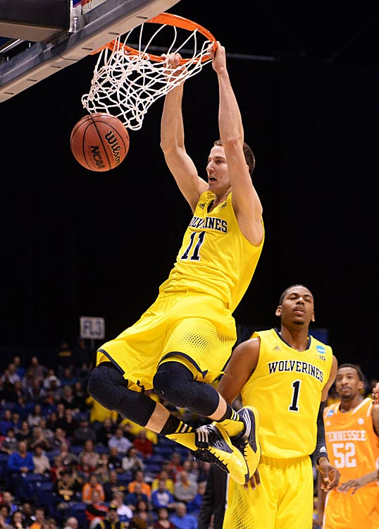 Nik Stauskas throws down two of his 14 points.