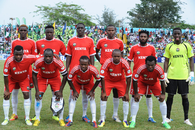 The Kenya national team poses before a World Cup qualifying match against Nigeria in March 2013.