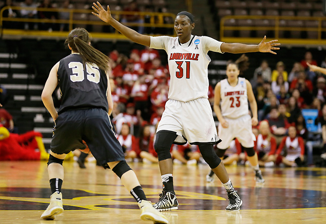 Although Asia Taylor's offensive contributions have been steady, Louisville will rely more on her defense tonight.