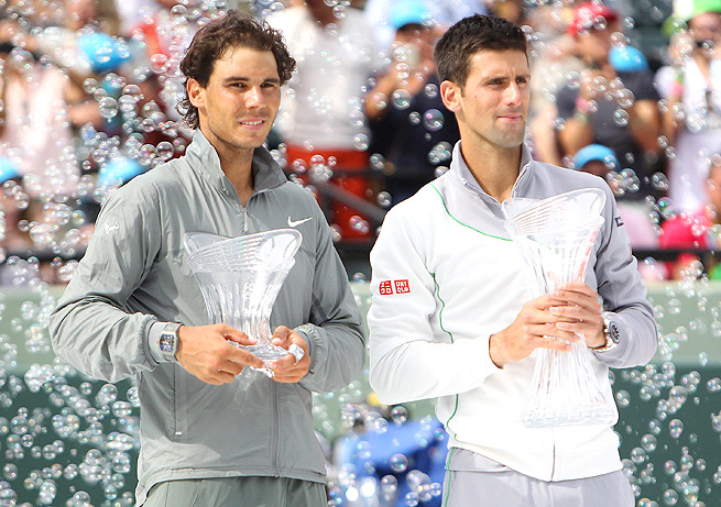 Rafael Nadal and Novak Djokovic both advanced to the Sony Open final when their opponents withdrew.