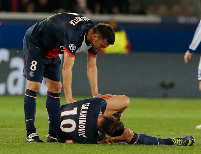 Zlatan Ibrahimovic will miss PSG's Champions League quarterfinal second leg match against Chelsea with a thigh injury.