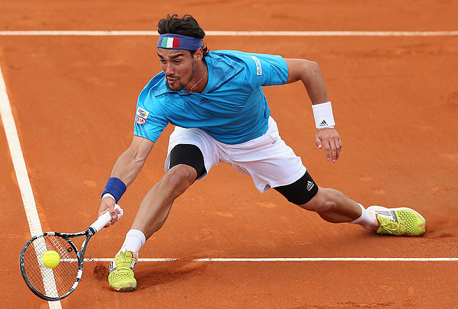 Fabio Fognini injured his left quad in Miami, and also had his ribs taped for the Davis Cup.
