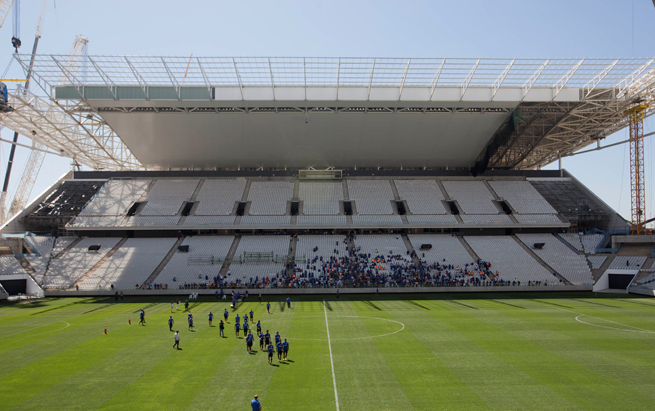 Work continues at Itaquerao Stadium in Sao Paulo, where multiple workers have died while trying to complete the venue that will host the first match of this summer's World Cup.