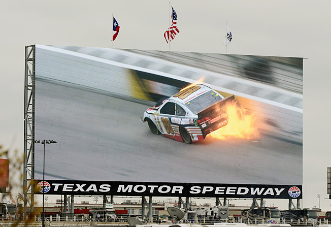 Dale Earnhardt Jr. lit up the huge video board at Texas Speedway with his crash early in Monday's race.