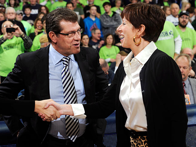 Huskies head coach Geno Auriemma and the Fighting Irish's Muffet McGraw have made no secret of their feelings for one another.