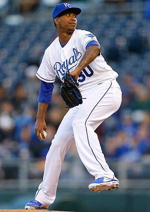 Yordano Ventura gave up two hits and struck out six against the Rays Tuesday.