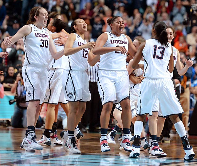 UConn's women's team and head coach Geno Auriemma made it a championship double dip in Storrs, knocking off Notre Dame 79-58 for their ninth title and completing a perfect 40-0 season. UConn took advantage of its size and overpowered the Irish in the paint, with Stefanie Dolson and Breanna Stewart leading the way. After a week of well-publicized anonymity between Auriemma (now 9-0 lifetime coaching in title games) and Notre Dame Coach Muffet McGraw, the Huskies let their play do the talking in dominant fashion.